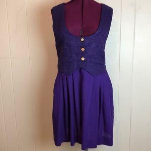 Vintage 70s 80s Plaid Sleeveless Vest Dress
